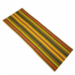 "Wine Cellar Vineyard Brown Green Yellow Rust Striped 36"" Cotton Table Runner"
