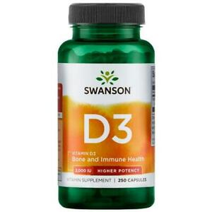 Swanson Vitamin D3 2000IU 250 Caps, Immune Health, Higher Potency