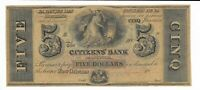 $5 Louisiana Citizens Bank New Orleans unissued $5 18XX  G12 Plate B colorful