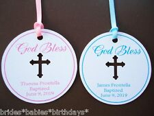 10 Kraft White Gift Tags Christening Baptism Favour Bomboniere Personalised C5