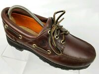 Timberland Mens 3 Eye Boat Shoes Brown Leather Deck Shoe Lug Sole Size 7 M