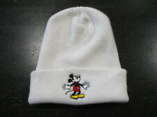 VINTAGE Disney Mickey Mouse Beanie Hat Cap White Red Knit Theme Park Mens 90s*