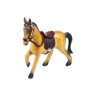 Wooden Horse with Leather Saddle Hand Carved Ornament Home Decor