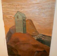 Land Mass,Sea,House & Birds, Primitive/Surreal O/C-20s-Amalia Ludwig-Listed N.J.