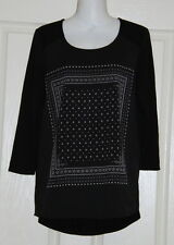 Womens size 10 black print top made by JEANSWEST Jeans West