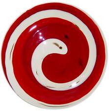 Italian Murano Glass Plate Red Swirl Signed Yalos Casa Red Bronze Millefiori