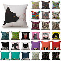 18'' Home Decor Cat Pattern Square Cotton Linen Throw Pillow Case Cushion Cover