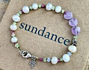 "NEW Sundance 7-1/2"" Pearl Amethyst Heart Sterling Silver Bead Bracelet NWT"