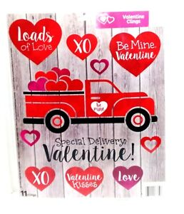 Valentine Reusable Window Clings - SPECIAL DELIVERY TRUCK Word Sayings SALE