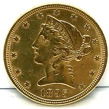 1895  $5. Liberty Head Gold Half Eagle Uncirculated Bright US Coin !