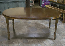 Oval Dining Table Farmhouse Walnut Oak Top Seat 4 or 6 People Brown