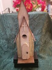 Rustic Handcrafted Church Birdhouse - Wood w/ Tin Roof