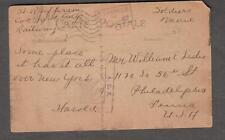 WWI AEF censor post card H R Jefferson Co C 9th Railway to William Leslie Phila