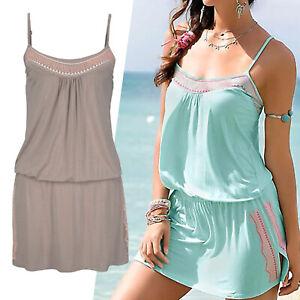 schönes MARKEN Mini Kleid Gr.34 XS Sommerkleid Jersey Shirtkleid Stickerei taupe