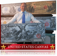 U S Currency Art -HUGE CANVAS- Rare Paper Money $ Dollar Bill - Certificate Note