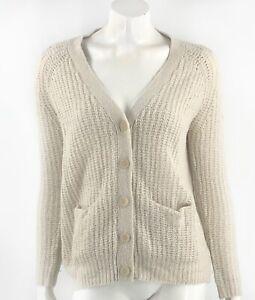 Kimchi Blue Womens Cardigan Sweater Size Small Beige Wool Blend Open Knit V Neck