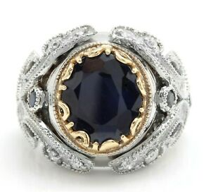 12.19 Carat Natural Blue Sapphire and Diamonds in 14K Solid White Gold Men Ring