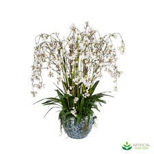 Artificial Fake Plants White Blossom Flowers in Aviary Planter 1.2m