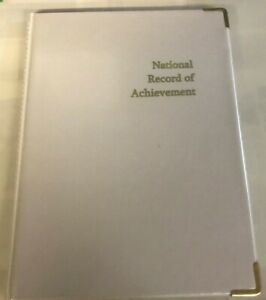NATIONAL RECORD OF ACHIEVEMENT PVC FOLDER IN SILVER LOOK WITH gold --LIMITED