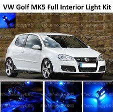 BLUE PREMIUM VW GOLF MK5 MK 5 MKV MK V INTERIOR FULL LED BULBS LIGHT KIT SET