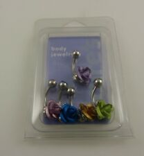 ring, piercing, body jewelry 5 pieces Rose pink blue gold crystal belly button