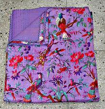 Queen Patchwork Kantha Quilt In purple Bird, Handmade Cotton Kantha Throw blaket
