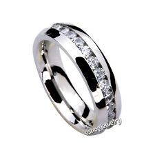 Wholesale 36pcs 6mm 316L Stainless Steel Eternity CZ Unisex Wedding Band Rings