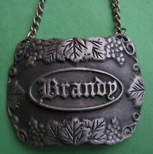 Vintage Bacchus Pewter USA Brandy Liguor Bottle Decanter Hanging Tag Label Chain