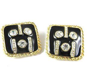 Black Enamel Clip On Large Earrings with Rhinestones Vintage Jewelry