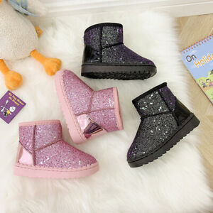 Kid Girls Sequin Glitter Snow Ankle Boots Winter Fur Lined Frozen Princess Shoes