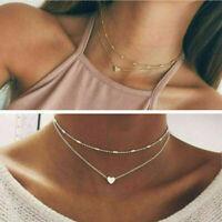 Silber Gold Farbige 2 Doppel Schicht Perlen Kette Choker Anh Herz H5U7 Hals V1P7