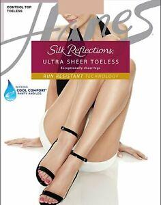 Hanes Pantyhose Silk Reflections Ultra Sheer Toeless Control Top Wick 10 denier