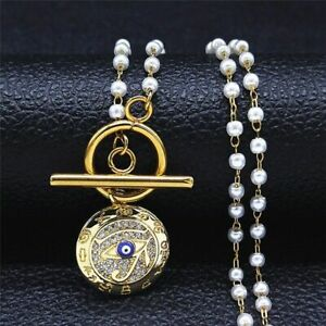 Women's Pearls Chain Necklaces Egyptian Alphabet Eyes StainlessSteel Jewelry
