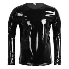 XL Men Patent Leather PVC Long Sleeve Zipper T Shirt Top Nightclub Cool Tank Top