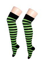 Halloween Over The Knee Green & Black Ladies Thigh High Striped Socks