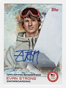 2014 Topps USA Olympic Team Authentic Autograph #79 Evan Strong Snowboarding