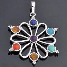 Flower Pendant- Reiki Chakra- 7 Point Epic Stone- Retro Natural Gem Beads