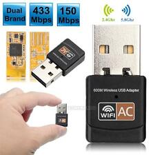 600Mbps Dual Band 2.4G / 5G Hz Wireless Lan USB PC WiFi Adapter 802.11AC Black