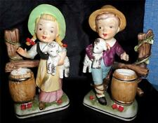 Very Cute Vintage Porcelain Figurines Boy & Girl w/ Sheep by Tiso Japan NICE HL