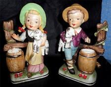 Very Cute Vintage Porcelain Figurines Boy & Girl w/ Sheep by Tiso Japan NICE HL
