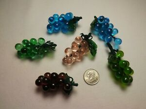 6 Vintage Miniature Glass Grape Clusters with Glass Leaves Wrapped Stems