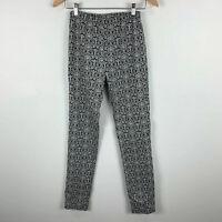 Blue Illusion Womens Pants Size Small Black White Textiles Elastic Waist Slim