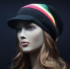 Plain Knit Rasta Beanie Visor Slouch Baggy Jamaican Vintage Hat Unisex Oversize