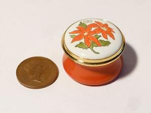 POINSETTIA - DECEMBER Month Flower Staffordshire Enamels Pill Ring Box Boxed #16