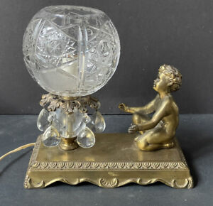 WOW! RARE Vintage Gold *CHERUB Antique Table Lamp PRISMS Hollywood Regency GLASS