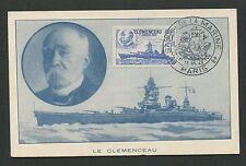 FRANCE MK 1943 CLEMENCEAU WARSHIP BATTLESHIP KRIEGSSCHIFF MAXIMUM CARD MC d4237