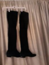 Salvatore Ferragamo Over The Knee Black Stretch Suede Boots Best Quality 8M/8.5M