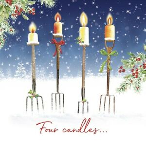 Pack of 10 Trinity Hospice Christmas Cards, Fork Handles, New