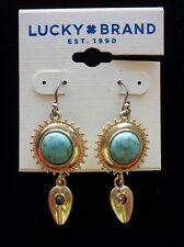 Lucky Brand Gold Tone Turquoise Drop Dangle Earrings Oriental Chandelier Crystal