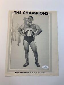 Bruno Sammartino Signed 8.5x11 Photo Autographed WWF Wrestling The Champions JSA